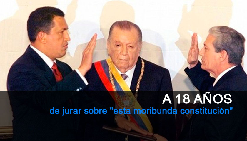 18 años desde la primera juramentación de Hugo Chavez.